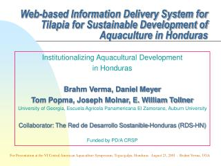web-based information delivery system for tilapia for sustainable ...