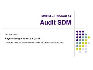 MSDM   Handout 14  Audit SDM