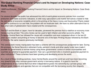 The Global Banking Financial Crisis's and Its Impact on Deve