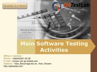 Main Software Testing Activities