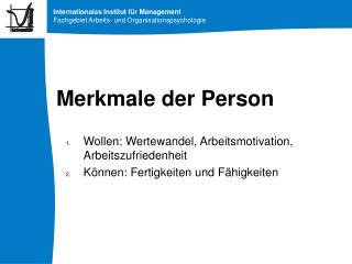 Merkmale der Person