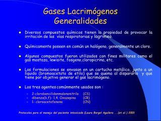 Gases Lacrim genos Generalidades
