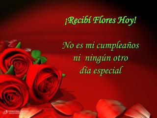 Recib  Flores Hoy   No es mi cumplea os  ni  ning n otro  d a especial