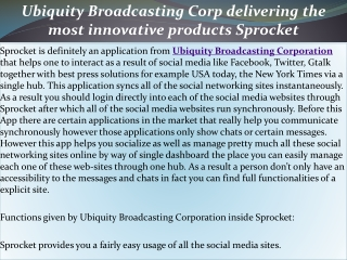 Ubiquity Broadcasting Corp delivering the most innovative pr