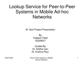 lookup service for peer-to-peer systems in mobile ad-hoc networks