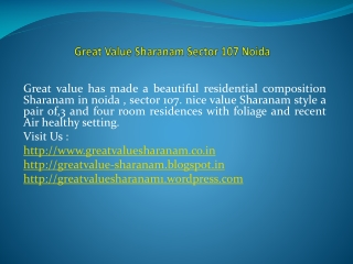 Great Value Sharanam new project of great value Group
