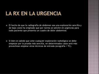 La Rx EN LA URGENCIA
