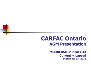 CARFAC Ontario Membership Survey 2013