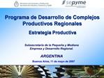 Programa de Desarrollo de Complejos Productivos Regionales