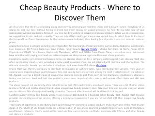 Economical Beauty Products - Where to Discover Them