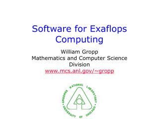 Software for Exaflops Computing