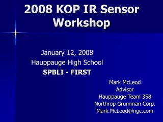 2008 KOP IR Sensor  Workshop
