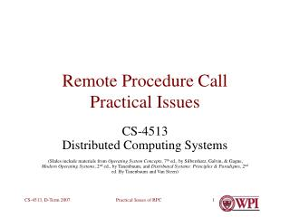 remote procedure call practical issues