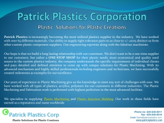 Patrick Plastics Corporation Products