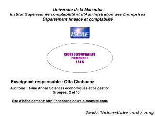 Universit  de la Manouba Institut Sup rieur de comptabilit  et d Administration des Entreprises D partement finance et c