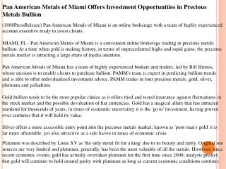 pan american metals of miami offers investment opportunities