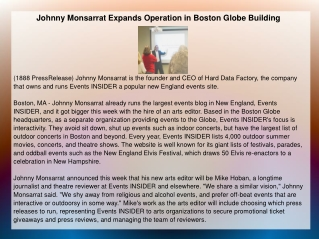 Johnny Monsarrat Expands Operation in Boston Globe Building