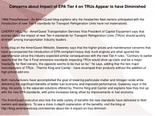 Concerns about Impact of EPA Tier 4 on TRUs Appear