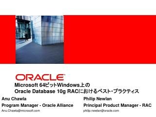 Microsoft 64Windows Oracle Database 10g RAC
