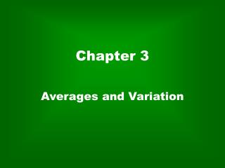 Averages and Variation