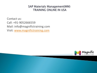 Sap Materials Managementtraining usa@magnifictraining.com