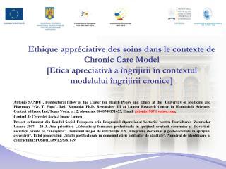 Ethique appr ciative des soins dans le contexte de Chronic Care Model [Etica apreciativa a  ngrijirii  n contextul model