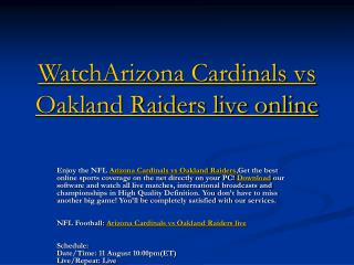 watcharizona cardinals vs oakland raiders live online