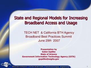 State and Regional Models for Increasing Broadband Access and Usage