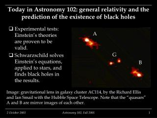 Today in Astronomy 102: general relativity and the prediction of the existence of black holes
