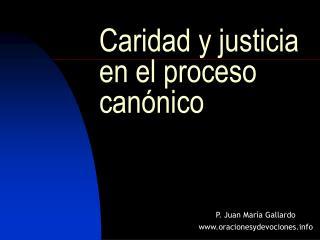 Caridad y justicia en el proceso can nico