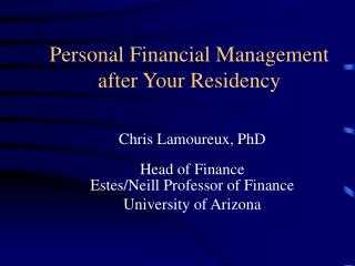 Personal Financial Management after Your Residency
