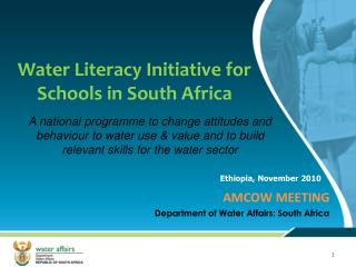 Water Literacy Initiative for Schools in South Africa