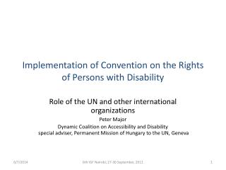 Implementation of Convention on the Rights of Persons with Disability