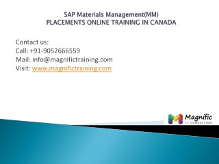 Sap Materials Management(MM)placementstraining in canada