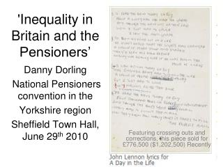 Inequality in Britain and the Pensioners