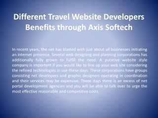 Different Travel Website Developers Benefits through Axis So