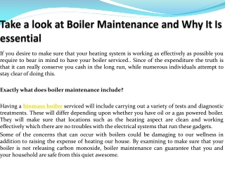 Take a look at Boiler Maintenance and Why It Is essential