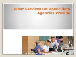 What Services Do Domiciliary Agencies Provide