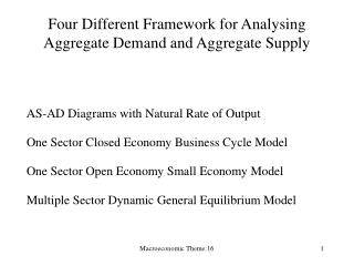 Four Different Framework for Analysing Aggregate Demand and Aggregate Supply