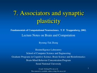 7. Associators and synaptic plasticity