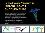 Info About Essential  MEN'S HEALTH SUPPLEMENTS