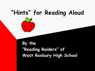 Hints  for Reading Aloud