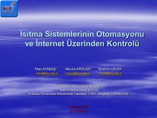 Isitma Sistemlerinin Otomasyonu ve Internet  zerinden Kontrol