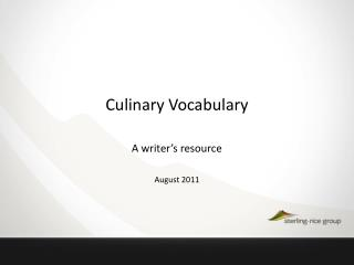 Culinary Vocabulary