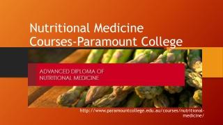 Nutritional Medicine Courses-Paramount College,Perth