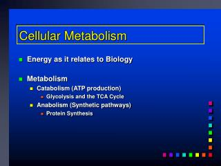 Cellular Metabolism
