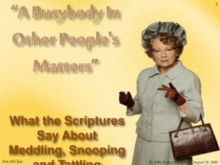 A Busybody In Other Peoples Matters