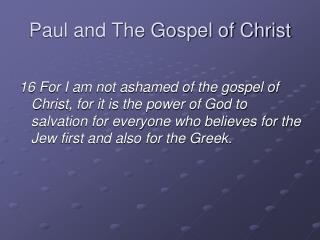 Paul and The Gospel of Christ