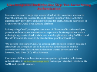 Gluu Integrates OneID for One-Step, Two-Factor Strong Authe