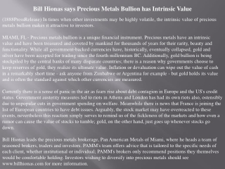 bill hionas says precious metals bullion has intrinsic value